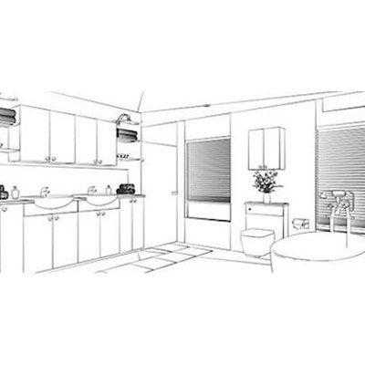 CAD bathroom drawing